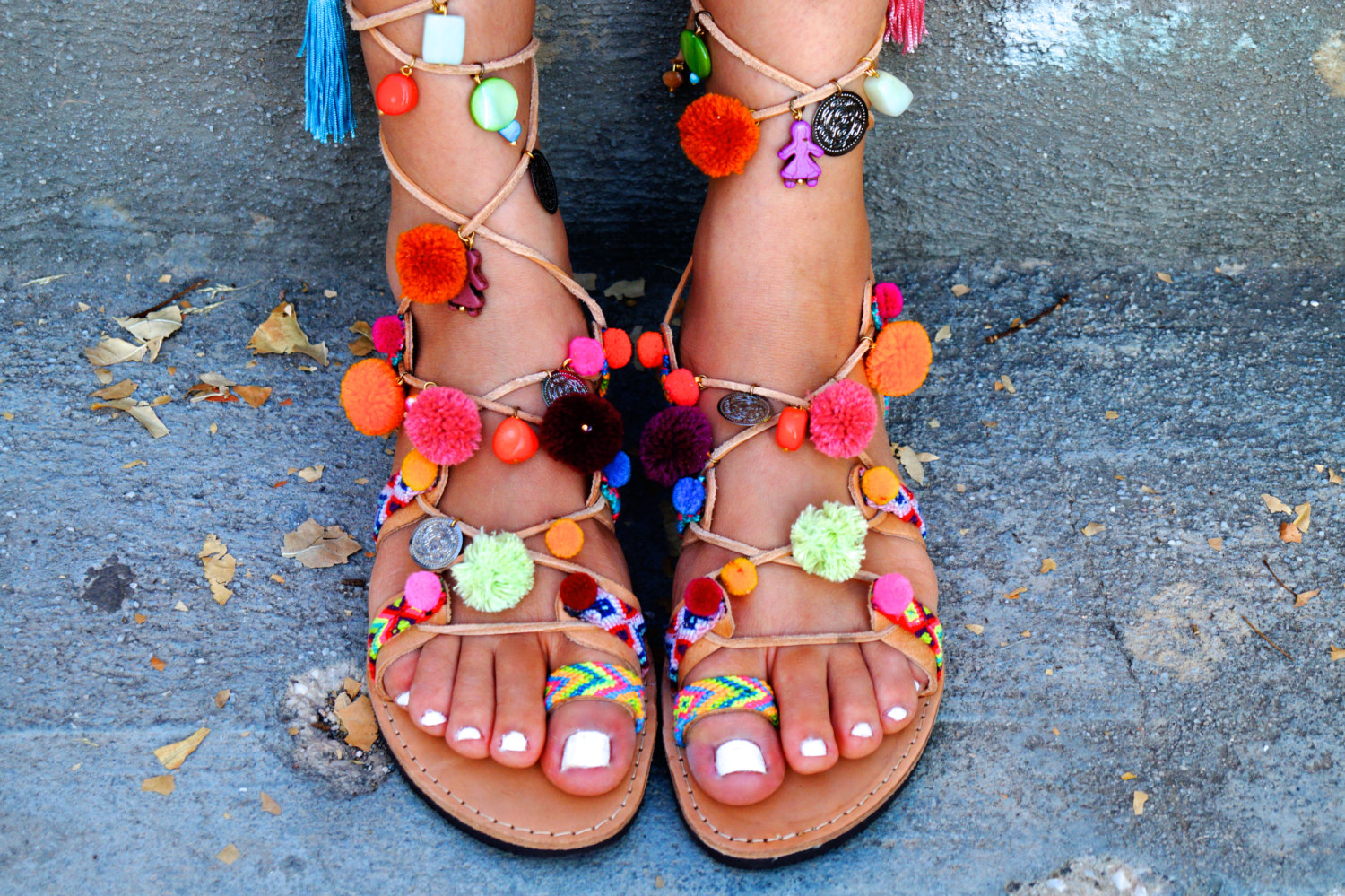 Fun for your Feet: Pom Pom Gladiator Sandals